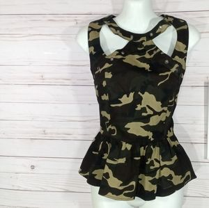 Last Kiss Green Camo Cut- Out Tank Top Sz. Lg.